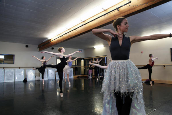 "<p>Dancers from Eugene Ballet at rehearsal for ""The Snow Queen""</p>"