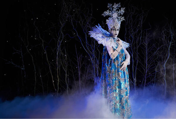 <p>Danielle Tolmie, principal dancer for Eugene Ballet, in costume, designed by Jonna Hayden, as the Snow Queen.</p>
