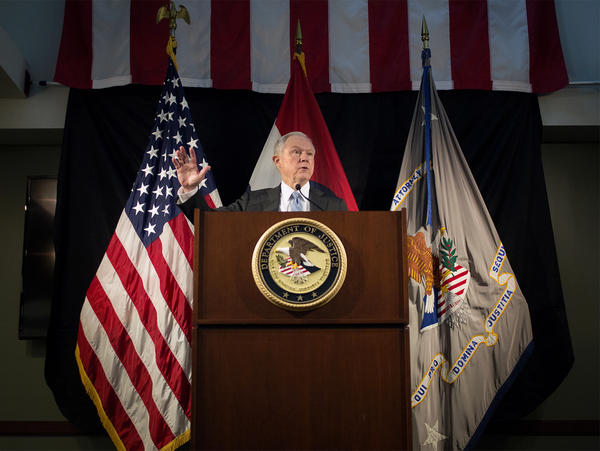 U.S. Attorney General Jeff Sessions speaks to law enforcement officials Friday morning at the Thomas Eagleton U.S. Courthouse in downtown St. Louis.