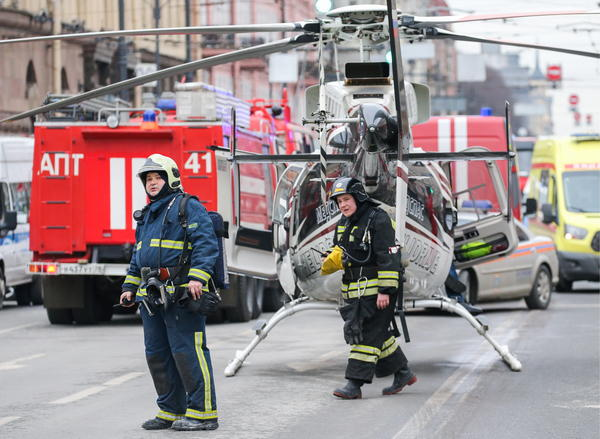 Rescue crews work near the scene of the explosion Monday in St. Petersburg, Russia.