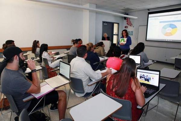 Lesley Nadal teaches a class for students studying to be teachers at Miami Dade College.