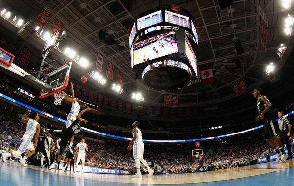 "The second round of the 2016 NCAA men's basketball tournament at PNC Arena in Raleigh, N.C. The NCAA pulled championship events from the state this year because of the controversial ""bathroom bill""; the sporting events will now be returning."