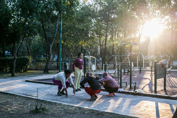 Exercise equipment, often placed in public parks like this one in the Tlalpan area of Mexico City, encourages residents to be more active.