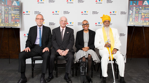 2017 NEA Jazz Masters Dave Holland, Dick Hyman, Dee Dee Bridgewater, and Dr. Lonnie Smith (not pictured: Ira Gitler) at the 2017 NEA Jazz Masters Awards Dinner, sponsored by BMI, on April 2, 2017.