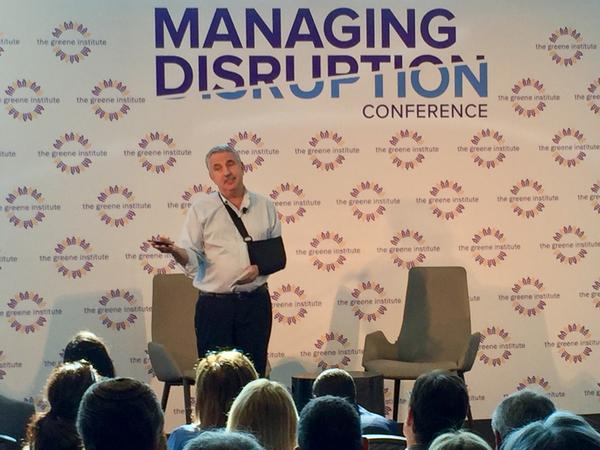 """There is a complete missmatch now between the pace of change and the ability of humans and societies to adapt,"" said author Thomas Friedman at The Greene Institute's ""Managing the Disruption"" conference in Palm Beach on April 3, 2017."