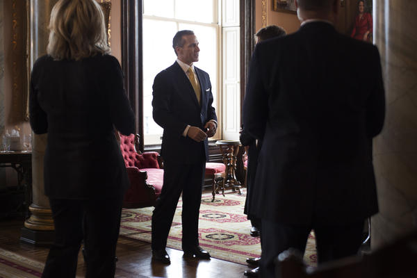 Gov. Eric Greitens greets guests at his residence he was sworn into office in January.