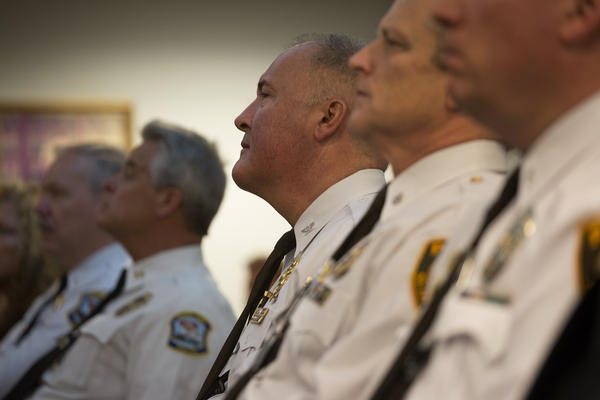 St. Louis County Police Chief Jon Belmar listens to U.S. Attorney General Jeff Sessions' remarks last week.