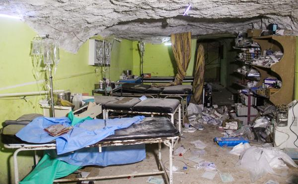 A hospital room in rebel-held Khan Shaykhun was destroyed in the suspected chemical weapons attack.