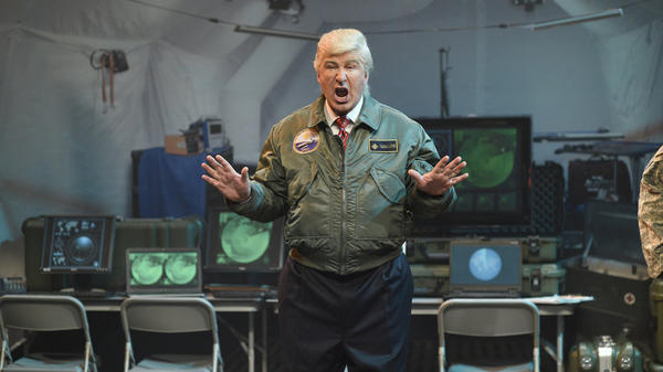 "Alec Baldwin says his <em>SNL</em> impersonation of President Trump is purposefully exaggerated, a ""Macy's Day Parade of Trump."""