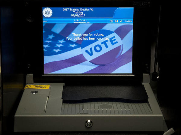 A view of a ballot scanner at a New York City Board of Elections voting machine facility warehouse just before last November's election.