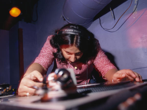 DJ Rekha Malhotra spins Bhahgra music at The Cooler nightclub on West 14th Street in New York City.