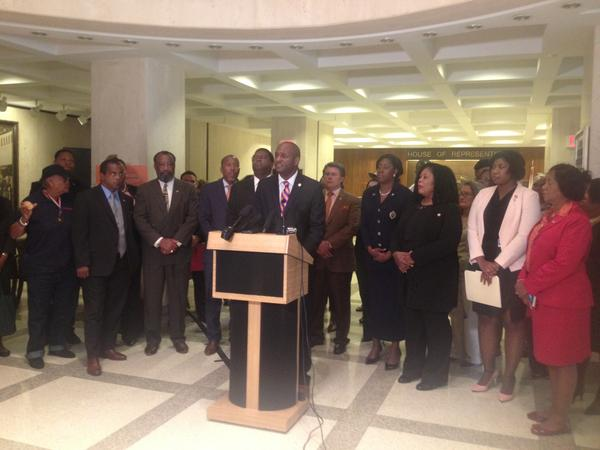 At a press conference Wednesday, Rep. Bobby DuBose (D-Ft. Lauderdale) joined by Democratic lawmakers and Black Legislative Caucus members talk about their opposition to the Stand Your Ground bill.
