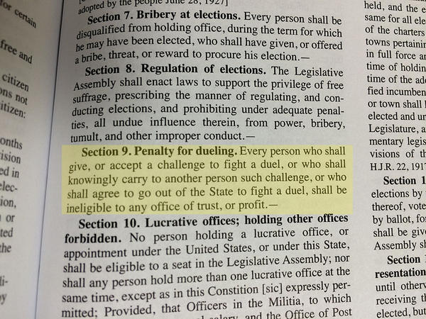 Article II, Section 9 of the Oregon Constitution is a ban on office-holders engaging in duels.