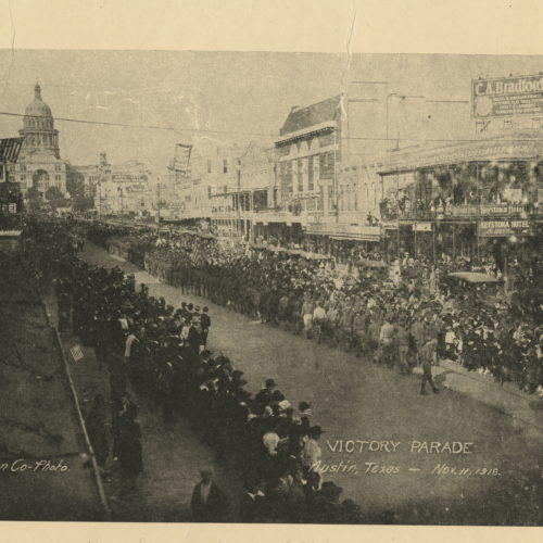 World War I victory parade in downtown Austin.