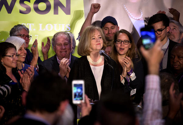 Lyda Krewson thanks supporters at the Probstein Golf Course Clubhouse in Forest Park on Tuesday night.