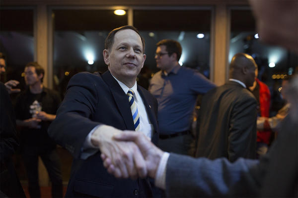 Mayor Francis Slay greets attendees at Lyda Krewson's election night watch party.