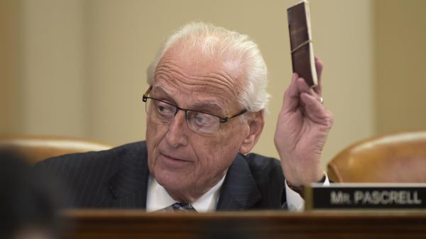 House Ways and Means Committee member Rep. Bill Pascrell Jr., D-N.J., holds up a copy of the Constitution as he speaks at a March committee meeting. Pascrell introduced House Resolution 186, an inquiry directing the Treasury secretary to provide to the House of Representatives President Trump's tax returns and other financial information.