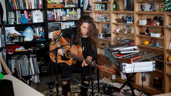 Tash Sultana performs a Tiny Desk Concert on Feb. 17, 2017. (Claire Harbage/NPR)