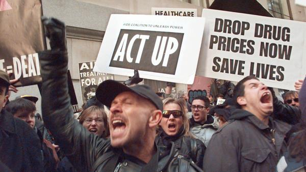 Protesters marked the 10th anniversary of the forming of ACT UP along Wall Street in New York City in 1997 by calling attention to the high price of AIDS drugs.