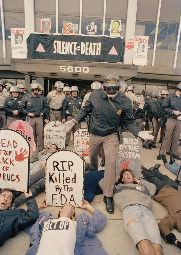 ACT UP demonstrators who were angry at the federal government's response to the AIDS crisis effectively shut down the headquarters of the Food and Drug Administration in Rockville, Md., on Oct. 11, 1988.