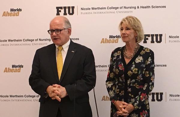 FIU President Mark Rosenberg during his conversation with U.S. Secretary of Education Betsy DeVos.