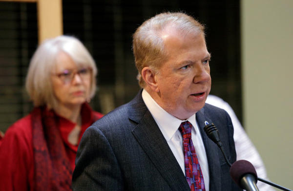 <p>Seattle Mayor Ed Murray speaks at a news conference on March 8, 2017.</p>