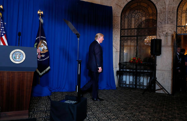 President Donald Trump steps away from his podium on Thursday evening after addressing the U.S. launch of cruise missiles into Syria after a chemical weapons attack this week against civilians.