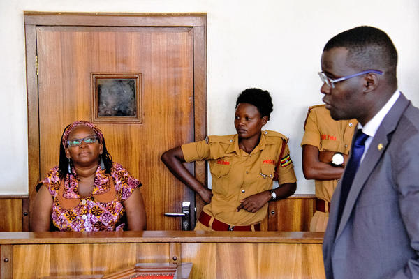 University lecturer and activist Stella Nyanzi appears in court in Kampala, Uganda, on April 10, facing charges of cyber harassment and offensive communication.
