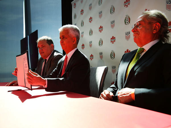 U.S. Soccer Federation President Sunil Gulati (center), Canadian CONCACAF President Victor Montagliani (left) and Mexican Football Federation President Decio De Maria present their unified bid for the 2026 World Cup at a news conference in New York City on Monday.