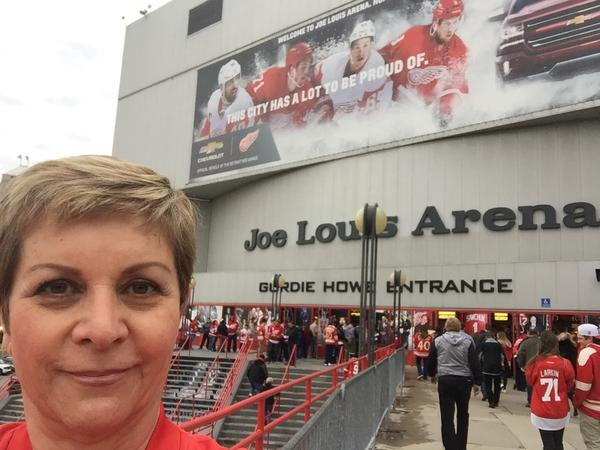 Cynthia Canty outside of Joe Louis Arena before one of the last games of the final season against the Ottawa Senators.