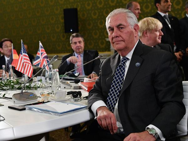 Secretary of State Rex Tillerson sits at a table surrounded by foreign ministers from G-7 countries on Tuesday, the second day of a meeting in Lucca, Italy. Tillerson headed to Moscow later that day for the start of a series of what promise to be some tough conversations.
