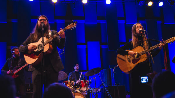 Matthew E. White (left) and Flo Morrissey (right) perform at WXPN's Free At Noon concert.