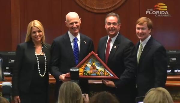 (From left to right) Attorney General Pam Bondi, Governor Rick Scott, Chief Financial Officer Jeff Atwater, and Agriculture Commissioner Adam Putnam take a picture during the CFO's last Cabinet meeting.