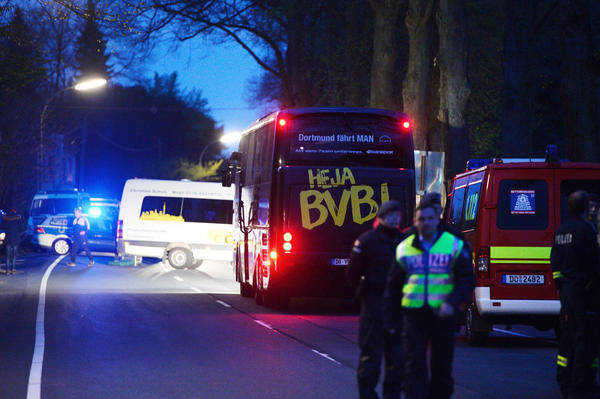 The Borussia Dortmund soccer team bus was damaged by explosion a few miles from the stadium prior to the UEFA Champions League quarter-final football match against Monaco in Dortmund, Germany, on Tuesday.