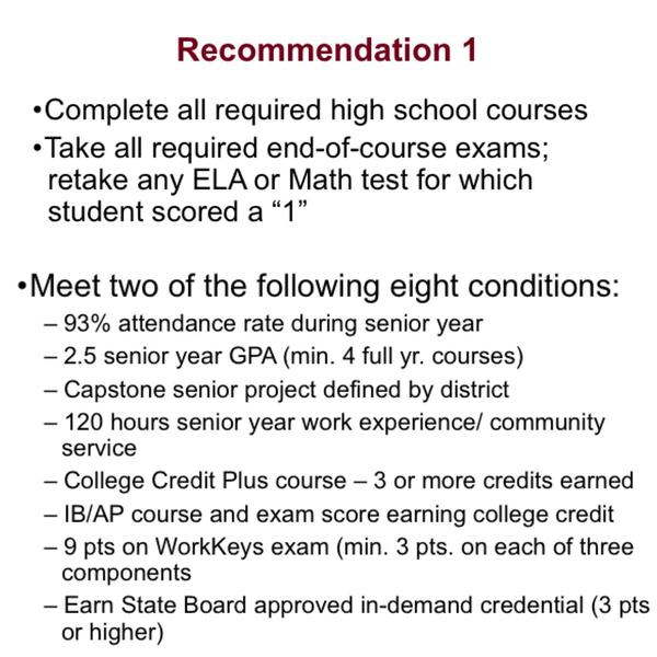 Recommendation 1 creates eight conditions from which students can meet two in order to graduate. This partners with the testing pathway available to students.