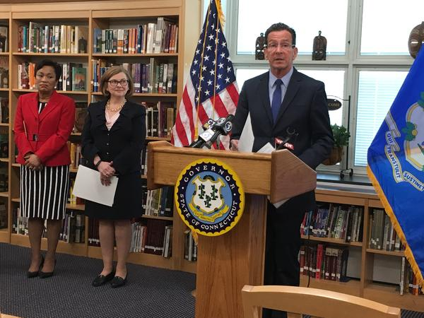 Governor Dannel Malloy with New Haven Mayor Toni Harp and State Department of Education Commissioner Dianna Wentzell at James Hillhouse High School