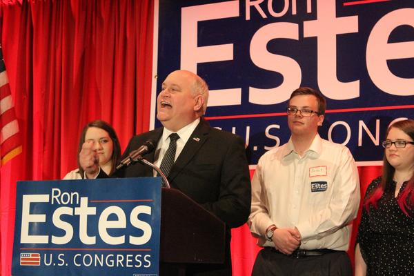 Republican candidate Ron Estes gives his victory speech.