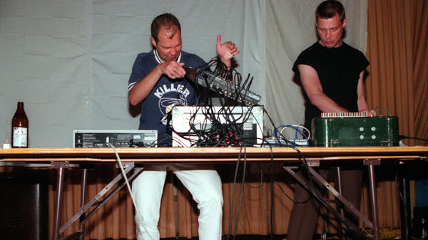 Pan Sonic (Mika Vainio, left and Ilpo Vaisanen) performing in Greenpoint, Brooklyn on May 12, 2000. Vainio died aged 51 on April 13, 2017.