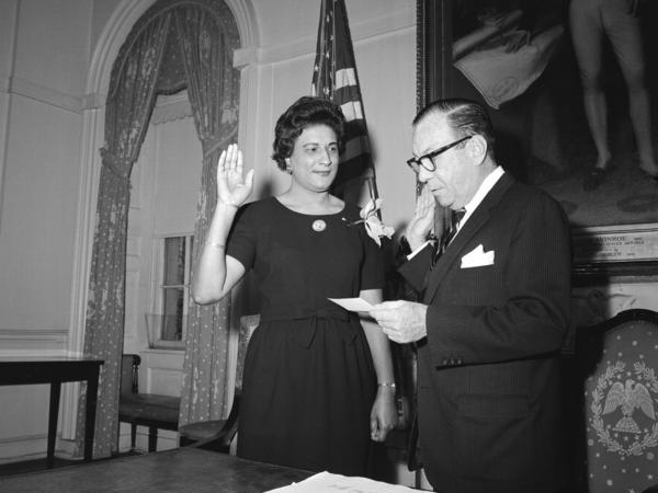 Constance Baker Motley was a symbol of a changing America. She was a pioneering civil rights lawyer who became the first African-American woman to serve in the New York state Senate. Here, she is sworn into that job by Mayor Robert Wagner in 1964. Two years later, she was the first black woman to be appointed a federal judge. It was Sostre's good fortune that his lawsuit wound up in her court.