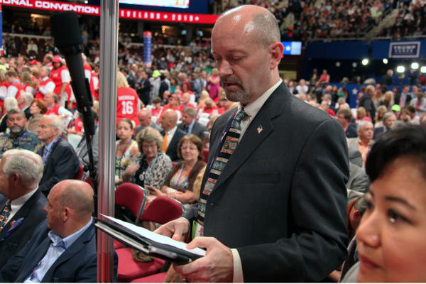 <p>Bill Currier, chairman of the Oregon Republican Party, prepares to announce Oregon's votes during the roll call at the Republican National Convention in Cleveland on July 19, 2016.</p>