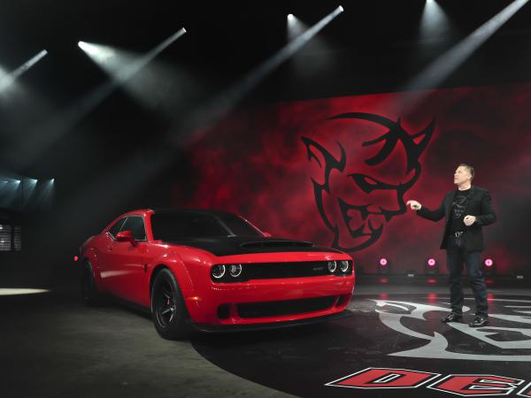 Dodge head of passenger car brands Tim Kuniskis talks about the 2018 Dodge Challenger SRT Demon during a media preview for the New York International Auto Show on Tuesday.