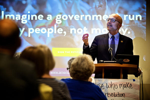 U.S. Rep. Ted Deutch rallies support for the 28th Amendment at a town hall meeting in Wilton Manors on April 13, 2017.