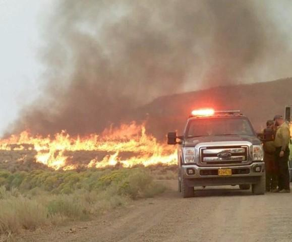 <p>Fire officials say the Withers fire, burning near Paisley, Oregon, was intentionally set. The fire has burned more than 3,000 acres and is currently 65 percent contained. </p>