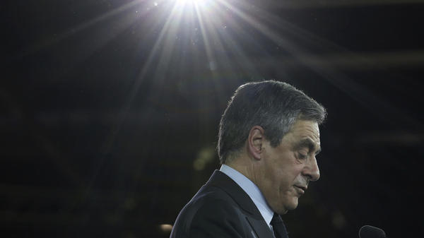 Conservative French presidential candidate Francois Fillon delivers a speech April 9 during a campaign meeting in Paris. The two-round presidential election is set for April 23 and May 7. Fillon has played up his religion during the campaign, and that has played well with France's Catholics.