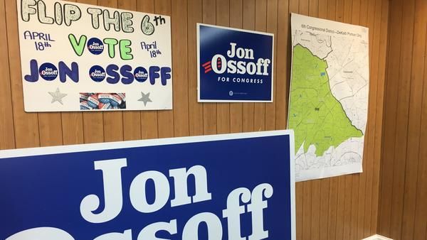 Campaign signs and map adorn the walls of Democratic congressional candidate Jon Ossoff's campaign office in Chamblee, Ga.