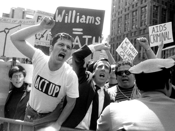 ACT UP protesters in front of City Hall in New York in 1992.