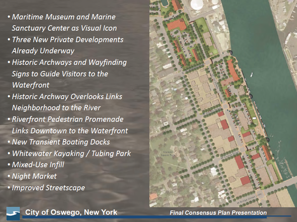 Edgewater Resources, a consultant, was hired by Oswego to design plans like this to renovate the city's waterfront area along Lake Ontario.