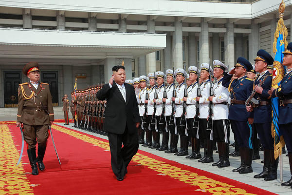North Korean leader Kim Jong Un arrives for a military parade in Pyongyang marking the 105th anniversary of the birth of late North Korean leader Kim Il Sung on April 15.