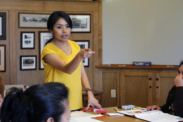 Instructor Melissa Velazquez teaches prospective naturalized citizens about U.S. civics and history.