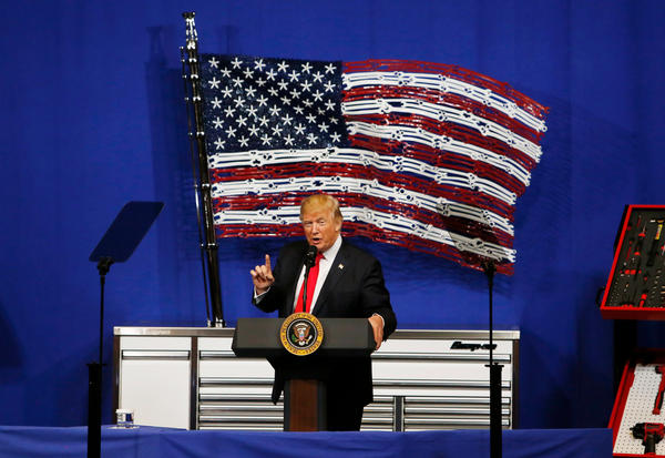 President Trump speaks at the Snap-on tools company in Wisconsin on Tuesday.